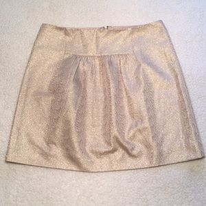 J. Crew Gold Metallic  A Line Pleat Front Skirt 6